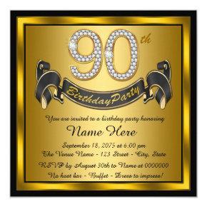 Gold 90th Birthday Party Invitations
