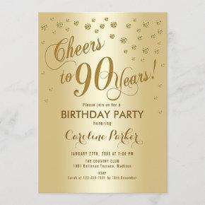 Gold 90th Birthday Party Invitation