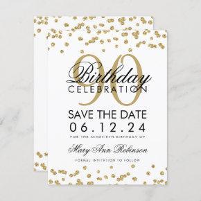 Gold 90th Birthday Save Date Confetti Invitation