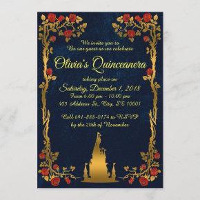 Gold and Navy Quinceañera Invitation