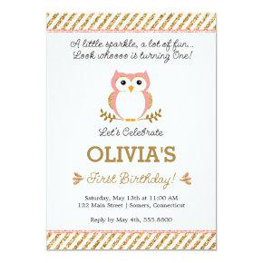 Gold and Pink First Birthday Owl Invitations