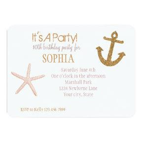 Gold and Pink Stripes Nautical Birthday Card
