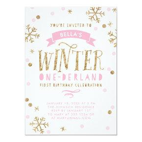 Gold and Pink Winter Onederland First Birthday Card