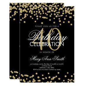 Gold Black 40th Birthday Party Glitter Confetti Invitations
