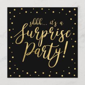 Gold & Black | 50th Surprise Birthday Party Invitation