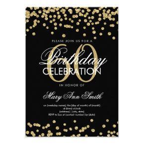Gold Black 60th Birthday Party Glitter Confetti Invitations