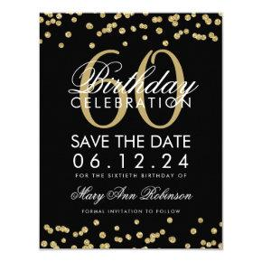 Gold Black 60th Birthday Save Date Confetti Card