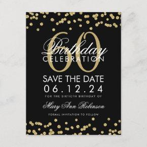 Gold Black 60th Birthday Save Date Confetti Save The Date