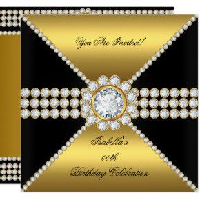 Gold Black Diamond Sophisticated Birthday Party Invitations