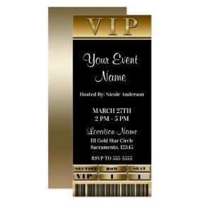 Gold & Black Elegant Dinner Party VIP Ticket Invitations