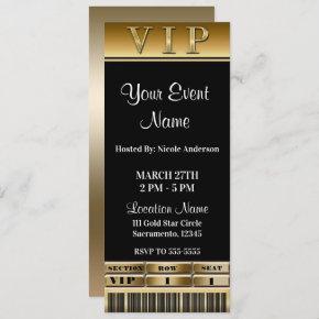 Gold & Black Elegant Dinner Party VIP Ticket Invitation