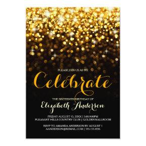 Gold Black Hollywood Glam Sweet Sixteen Invitations