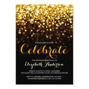 Gold Black Hollywood Glam Sweet Sixteen Invitation