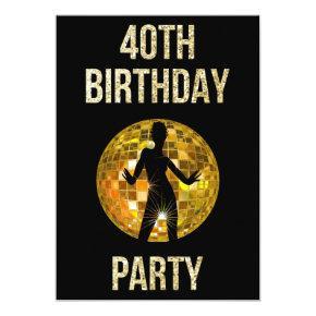Gold & Black Retro Disco Glitter Ball 40th Party Invitations