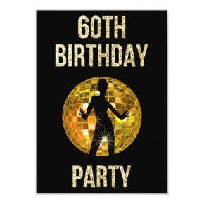 Gold & Black Retro Disco Glitter Ball 60th Party Invitation