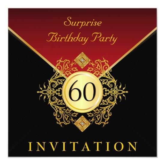 gold black royal red 60th birthday surprise party invitations