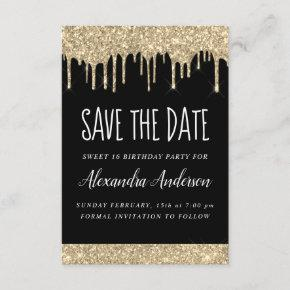 Gold Black Sparkle Glitter Sweet 16 Save the Date Invitation