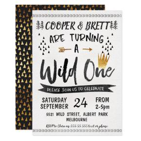 Gold Black Twins Wild One Birthday Invitations