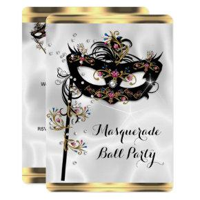 Gold Black White Masquerade Ball Party Mask Invitations
