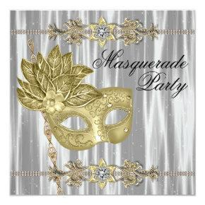 Gold Black White Masquerade Party Invitation