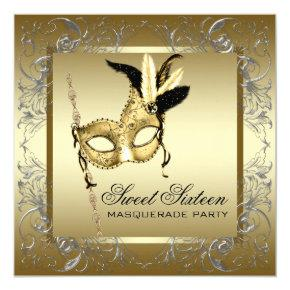 Gold Black White Sweet Sixteen Masquerade Party Invitations