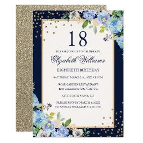 Gold Blue floral Sparkle 18th Birthday Invitation