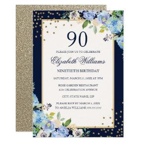 Gold Blue floral Sparkle 90th Birthday Invitations