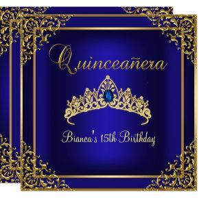 Gold & Blue Gem Tiara Quinceanera Invitation