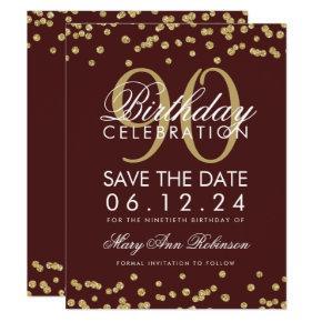 Gold Burgundy 90th Birthday Save Date Confetti Invitation