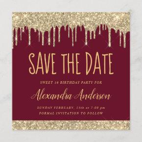 Gold Burgundy Chic Glitter Sweet 16 Save the Date Invitation