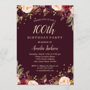 Gold Burgundy Elegant Floral 100th Birthday Party Invitation