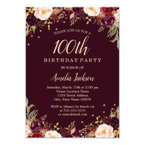 Gold Burgundy Elegant Floral 100th Birthday Party Invitation