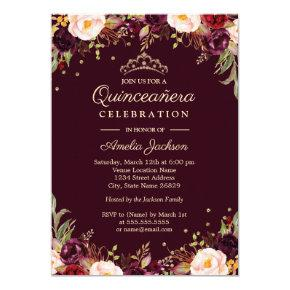 Gold Burgundy Elegant Floral Quinceanera Invitations