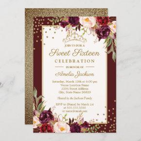 Gold Burgundy floral Sparkle Sweet Sixteen Invitation