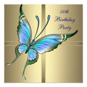 Gold Butterfly Womans 50th Birthday Party Invitation