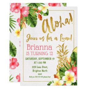 Gold Calligraphy Luau Birthday Invitations