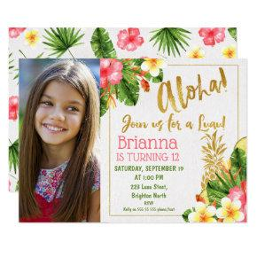Gold Calligraphy Luau Photo Birthday Invitations