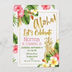 Gold Calligraphy Tropical Birthday Invitation