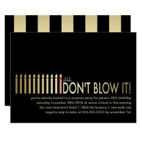 Gold Candles Surprise Birthday Party Invitations