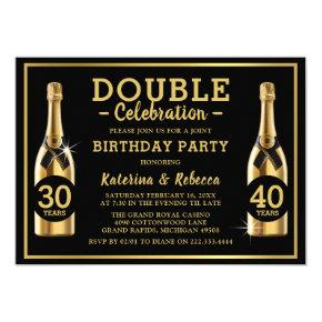 Gold Champagne Elegant Double Birthday Party Invitation