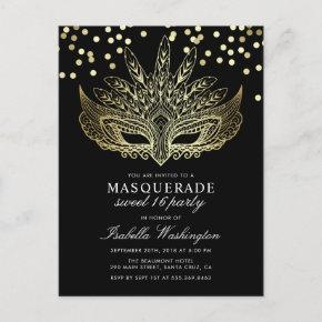 Gold Confetti Masquerade Sweet 16 Party Invitation Post