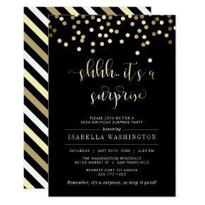 Gold Confetti Surprise Birthday Party Invitations