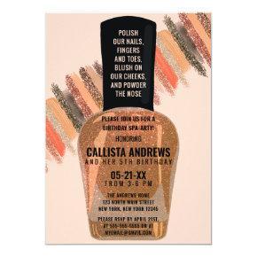Gold Coral Glitter Nail Polish Spa Day Birthday Invitation