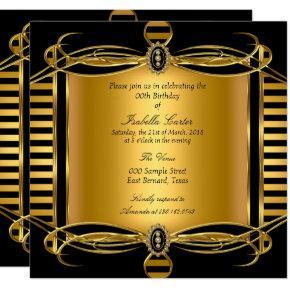 Gold Deco Black Stripe Pearl Birthday Party Invitation