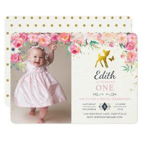 Gold Deer & Floral Photo Birthday Invitation