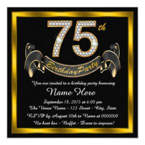 Gold Diamond 75th Birthday Party Card