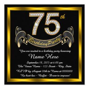 Gold Diamond 75th Birthday Party Invitations