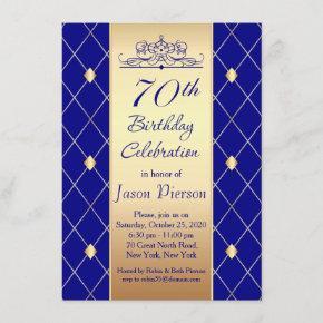 Gold diamond pattern on blue 70th Birthday Party Invitation