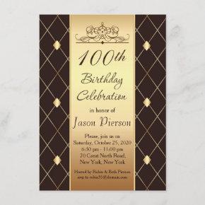 Gold diamond pattern on brown 100th Birthday Party Invitation