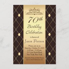 Gold diamond pattern on brown 70th Birthday Party Invitation